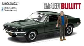 GreenLight - Ford  - gl86433 : 1968 Ford Mustang GT Fastback with Steve McQueen Figure *Bullitt (1968)* Hollywood