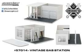 GreenLight - Accessoires  - gl57014 : 1/64 Vintage Gas Station Plain White (Hobby Exclusive) *Mechanic's Corner*, white