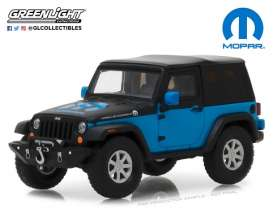 Jeep  - Wrangler  2010 blue/black - 1:43 - GreenLight - gl86092 | Tom's Modelauto's