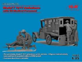 ICM - Figures  - icm35662 : 1/35 1917 Model T Ambulance w/US Medical Personnel plastic modelkit