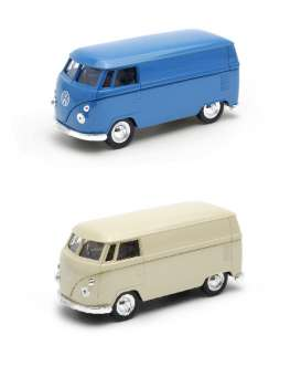 Welly - Volkswagen  - welly49764PV~12 : 1/34-1/39 Volkswagen Bus T1 Panel van in a tray of 12pcs, 6x blue & 6x cream