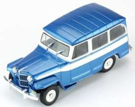 IXO Models - Willys  - ixclc261 : 1960 Jeep Willys Station Wagon, blue/white