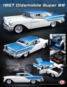 Acme Diecast - Oldsmobile  - acme1808003 : 1957 Oldsmobile Super 88 with a never made before Olds Rocket Engine, blue/white