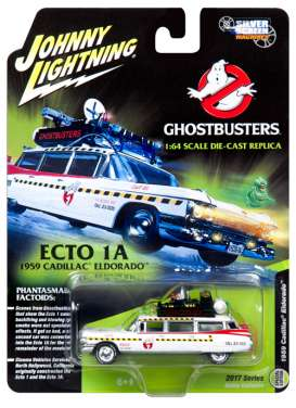 Cadillac  - Ecto 1A *Ghostbusters* 1959 white/red - 1:64 - Johnny Lightning - ss004 - jlss004 | Toms Modelautos