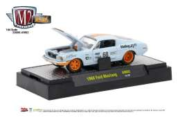 M2 Machines - Ford  - M2-32600AM02 : 1968 Ford Mustang, light blue/orange