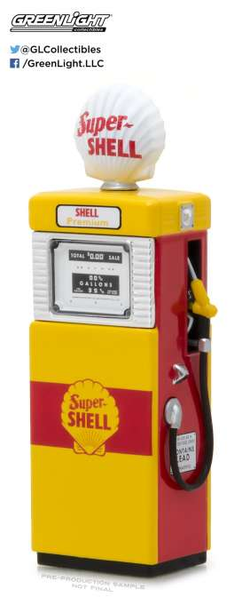 GreenLight - Accessoires diorama - gl14030B : 1/18 1951 Wayne 505 Shel Oil Gas Pump *Vintage Gas Pumps Series 3*, yellow/red