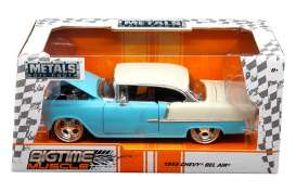 Jada Toys - Chevrolet  - jada98937 : 1955 Chevrolet Bel Air hard top, blue/white