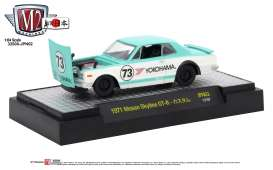 Nissan  - Skyline GT-R *Yokohoma* 1971 white with turquoise stripes - 1:64 - M2 Machines - M2-32500JPN02A | Tom's Modelauto's