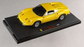Hotwheels Elite - Ferrari  - hwmvN2045*2 : 1970 Ferrari Dino 246 GT Coupe, yellow with black interior *Elite Series*
