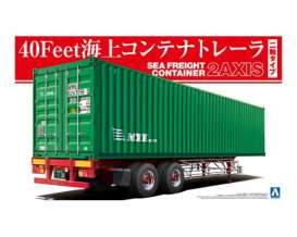 Aoshima - Trailer  - abk15290 : 1/32 40Feet Sea Freight Containers 2Axis, plastic modelkit