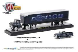 M2 Machines - Chevrolet  - m2-36000-27A : 1958 Chevrolet 100 Years - Chevrolet Spartan LCF and 1958 Chevrolet Apache Truck *Auto-Hauler Release 27*, Steel Blue Metallic w/Bright White Top