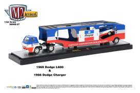 M2 Machines - Dodge  - m2-36000-27C : 1969 Dodge L600 COE - Car Carrier  and  1966 Dodge Charger  -  direct connection *Auto-Hauler Release 27*, blue/red/white