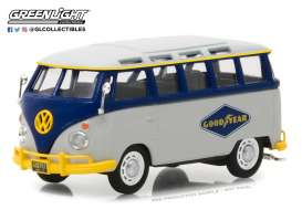 Volkswagen  - T1 Samba bus grey/blue - 1:43 - GreenLight - 87010F - gl87010F | Tom's Modelauto's