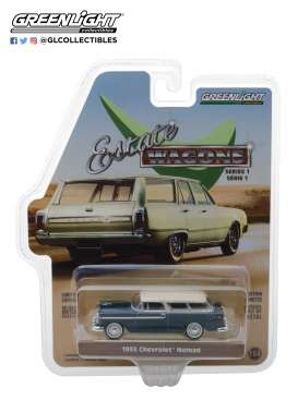 Chevrolet  - 1955 glacier blue/shoreline blue - 1:64 - GreenLight - 29910A - gl29910A | Tom's Modelauto's