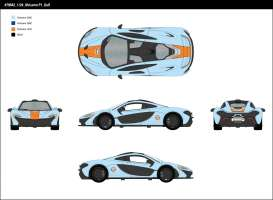 McLaren  - P1 2015 light blue/orange - 1:24 - Motor Max - mmax79642 | Tom's Modelauto's