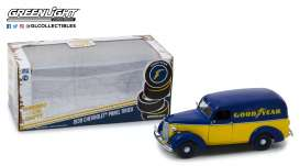 Chevrolet  - Panel Truck 1939 blue/yellow - 1:24 - GreenLight - 18243 - gl18243 | Tom's Modelauto's