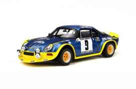 Alpine  - A110 Turbo Rally blue/yellow - 1:18 - OttOmobile Miniatures - otto249 | Tom's Modelauto's