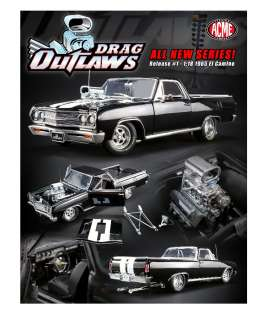 Chevrolet  - El Camino *Drag Outlaws* 1965 black/white - 1:18 - Acme Diecast - 1805409 - acme1805409 | Tom's Modelauto's