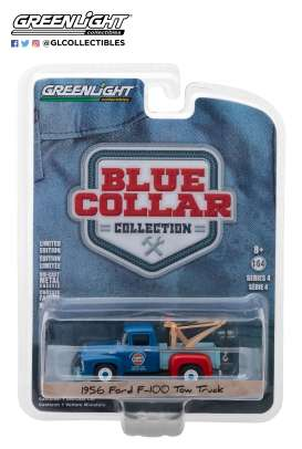 Ford  - F-100 Tow Truck 1956 blue/light blue - 1:64 - GreenLight - 35100A - gl35100A | Tom's Modelauto's