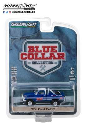 Ford  - F100 pick-up 1972 blue - 1:64 - GreenLight - 35100D - gl35100D | Tom's Modelauto's