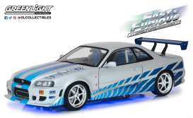 Nissan  - Skyline GT R-34 F&F 1999 silver/blue - 1:18 - GreenLight - 19041 - gl19041 | Tom's Modelauto's