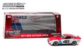 Datsun  - 240Z #46 1970 white/red - 1:43 - GreenLight - 86334 - gl86334 | Tom's Modelauto's