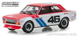 Datsun  - 510 #46 1971 white/red/blue - 1:43 - GreenLight - 86335 - gl86335 | Tom's Modelauto's
