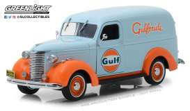 Chevrolet  - Panel Truck 1939 light blue/orange - 1:24 - GreenLight - 85011 - gl85011 | Tom's Modelauto's