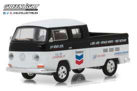 Volkswagen  - T2 Double cab pick-up 1968 black/white - 1:64 - GreenLight - 41060C - gl41060C | Tom's Modelauto's