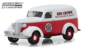 Chevrolet  - Panel Truck 1939 red/white - 1:64 - GreenLight - 41060E - gl41060E | Tom's Modelauto's