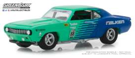 Chevrolet  - Camaro #88 1969 green/blue - 1:64 - GreenLight - 29959 - gl29959 | Tom's Modelauto's