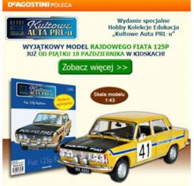 Fiat  - 125P yellow - 1:43 - Magazine Models - PCfi125Prally - magPCfi125Prally | Toms Modelautos