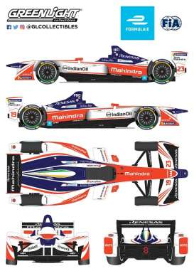 Formula E  - Mahindra, Indian Oil 2018 white/orange/blue - 1:18 - GreenLight - gl18114 | Tom's Modelauto's
