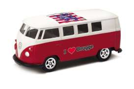 Volkswagen  - T1 Bus 1962 red/white - 1:64 - Welly - welly52221BR | Tom's Modelauto's