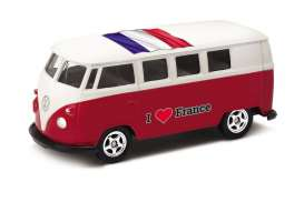 Volkswagen  - T1 Bus 1962 red/white - 1:64 - Welly - welly52221FR | Tom's Modelauto's