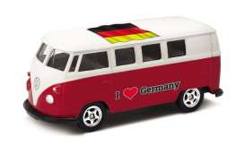 Volkswagen  - T1 Bus 1962 red/white - 1:64 - Welly - welly52221GE | Tom's Modelauto's
