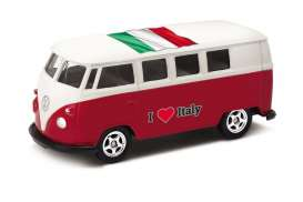 Volkswagen  - T1 Bus 1962 red/white - 1:64 - Welly - welly52221IT | Tom's Modelauto's