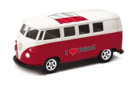 Volkswagen  - T1 Bus 1962 red/white - 1:64 - Welly - 52221PO - welly52221PO | Tom's Modelauto's