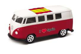 Volkswagen  - T1 Bus 1962 red/white - 1:64 - Welly - welly52221SP | Tom's Modelauto's