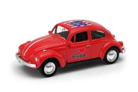 Volkswagen  - Beetle 1963 red/white - 1:64 - Welly - welly52222BR | Tom's Modelauto's