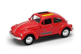 Volkswagen  - Beetle 1963 red/white - 1:64 - Welly - welly52222GE | Tom's Modelauto's