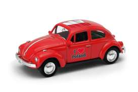 Volkswagen  - Beetle 1963 red/white - 1:64 - Welly - welly52222PO | Tom's Modelauto's