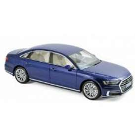 Audi  - A8 L 2017 blue metallic - 1:18 - Norev - nor188365 | Tom's Modelauto's
