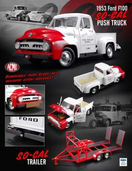 Ford So-Cal - F-100 *So-Cal* 1953 white/red - 1:18 - Acme Diecast - acme1807208 | Tom's Modelauto's