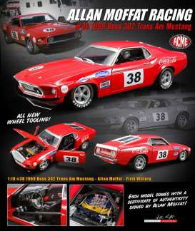 Ford  - Mustang Boss 302 Trans Am #38 1969 red - 1:18 - Acme Diecast - 1801828 - acme1801828 | Tom's Modelauto's