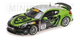 Porsche  - Cayman GT4 2017 black/green - 1:43 - Minichamps - mc437171614 | Tom's Modelauto's