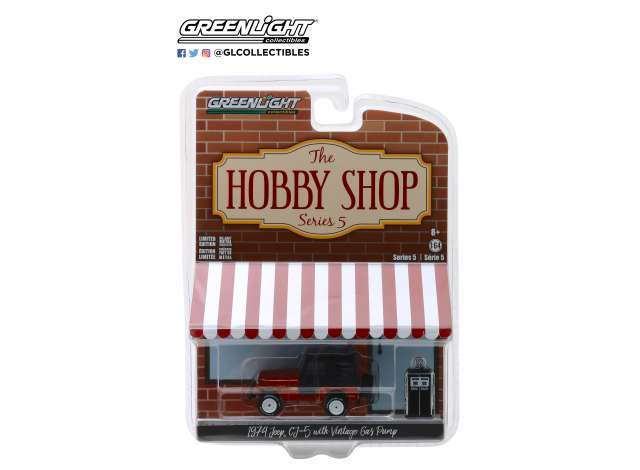 1974 /'74 JEEP CJ-5 W// VINTAGE GAS PUMP THE HOBBY SHOP 5 GREENLIGHT 2018