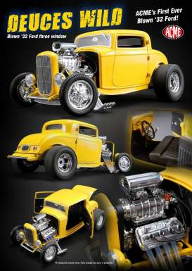 Ford  - 3 Window *Deuce Wild* 1932 yellow - 1:18 - Acme Diecast - acme1805015 | Tom's Modelauto's