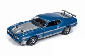 Ford  - Mustang Mach 1 1972 blue - 1:64 - Auto World - SP016A - AWSP016A | Tom's Modelauto's