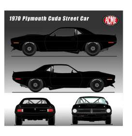 Plymouth  - Trans Am Cuda 1970 black - 1:18 - Acme Diecast - 1806108 	 - acme1806108 | Tom's Modelauto's